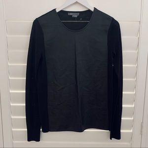 New! VINCE Leather Mix Sweater